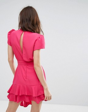 photo Exclusive Tie Waist Ruffle Dress by Miss Selfridge, color Hot Pink Special - Image 2