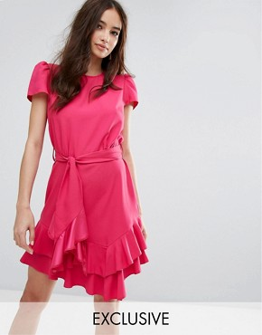 photo Exclusive Tie Waist Ruffle Dress by Miss Selfridge, color Hot Pink Special - Image 1