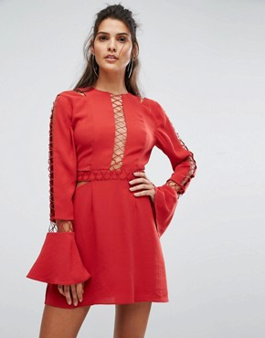 photo Borderlines Dress with Open Back and Cut Out Detailing by Finders Keepers, color Flame - Image 2