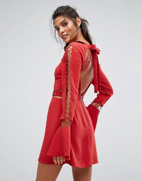 photo Borderlines Dress with Open Back and Cut Out Detailing by Finders Keepers, color Flame - Image 1