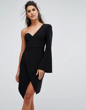 photo Chances Structured One Sleeve Dress by Finders Keepers, color Black - Image 1