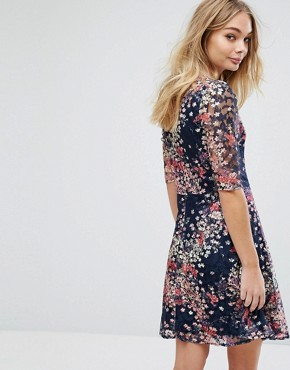 photo Fluted Sleeve Floral Printed Lace Skater Dress by Oasis, color Multi Blue - Image 2