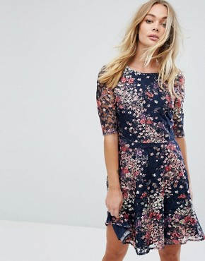 photo Fluted Sleeve Floral Printed Lace Skater Dress by Oasis, color Multi Blue - Image 1