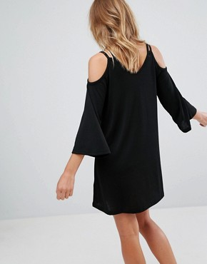 photo Cold Shoulder Jersey Dress by Pull&Bear, color Black - Image 2