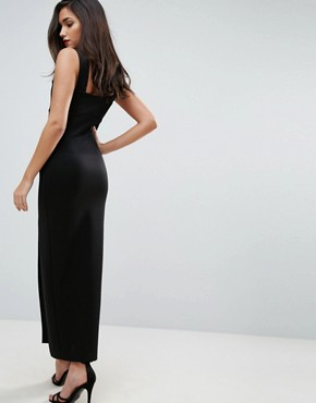 photo Square Neck Scuba Maxi Dress with Thigh Split by ASOS, color Black - Image 2