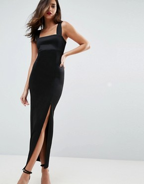 photo Square Neck Scuba Maxi Dress with Thigh Split by ASOS, color Black - Image 1