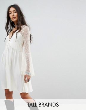 photo Button Front Smock Dress with Lace Panels by Kiss The Sky Tall, color Cream - Image 1