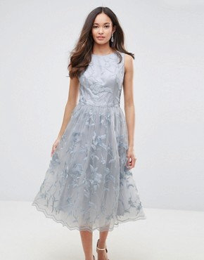 photo Lace Midi Dress with 3D Flowers by Chi Chi London, color Grey - Image 1