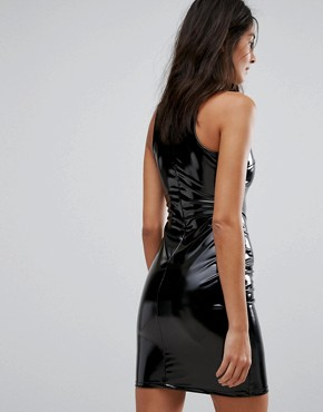 photo Bodycon Mini Dress in High Shine Vinyl by Glamorous, color Black - Image 2