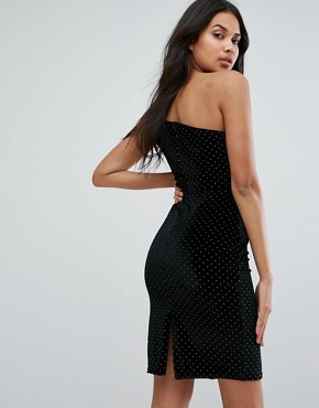 photo One Shoulder Mini Bodycon Dress with Stud Detail by Outrageous Fortune, color Black/Gold - Image 2