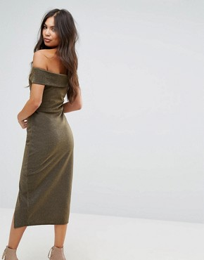 photo Bardot Pencil Midi Dress with Split by Outrageous Fortune, color Gold - Image 2