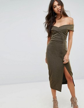 photo Bardot Pencil Midi Dress with Split by Outrageous Fortune, color Gold - Image 1