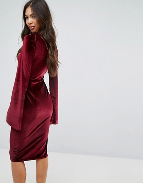 photo Velvet Midi Pencil Dress with Split Sleeve Detail by Outrageous Fortune, color Berry - Image 2