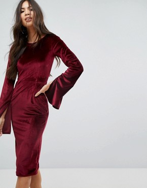 photo Velvet Midi Pencil Dress with Split Sleeve Detail by Outrageous Fortune, color Berry - Image 1