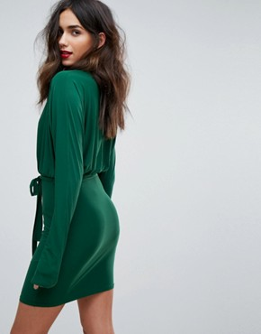 photo Lace Up Tie Front Mini Bodycon Dress with Batwing Sleeve by Outrageous Fortune, color Green - Image 2