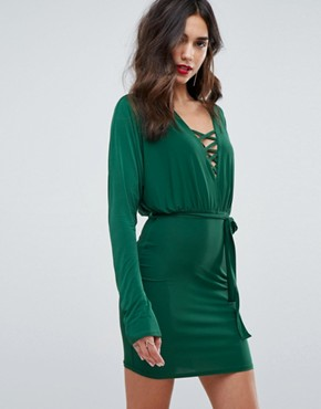 photo Lace Up Tie Front Mini Bodycon Dress with Batwing Sleeve by Outrageous Fortune, color Green - Image 1