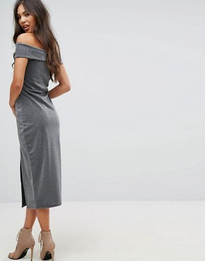 photo Bardot Pencil Midi Dress with Split by Outrageous Fortune, color Silver - Image 2
