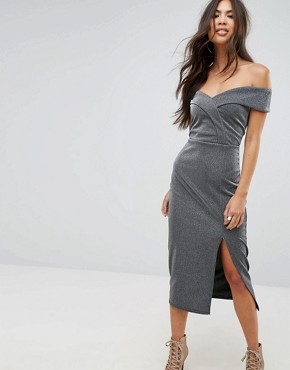 photo Bardot Pencil Midi Dress with Split by Outrageous Fortune, color Silver - Image 1