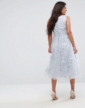 photo Lace Midi Dress with 3D Flowers by Chi Chi London Maternity, color Grey - Image 2