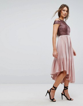 photo Delores Velvet Pleated Dress by Coast, color Dusky Pink - Image 1