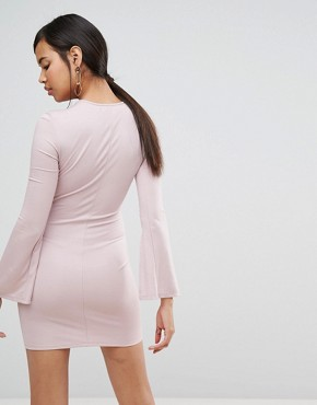 photo Split Long Sleeve Jersey Mini Dress by Ivyrevel, color Dusty Pink - Image 2
