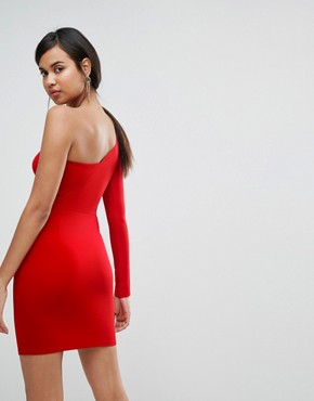 photo One Sleeve Mini Dress with Insert Crop Top by Ivyrevel, color Hot Red - Image 2