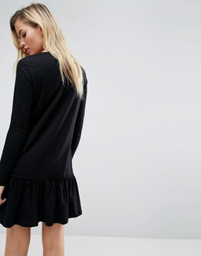 photo Mini Drop Hem T-Shirt Dress with Long Sleeves by ASOS, color Black - Image 2