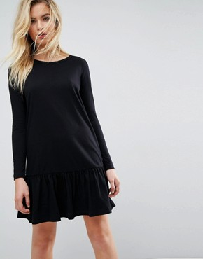 photo Mini Drop Hem T-Shirt Dress with Long Sleeves by ASOS, color Black - Image 1