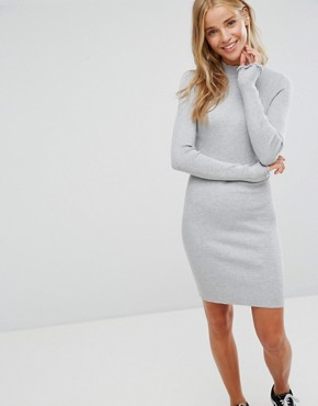 photo Ribbed Turtle Neck Dress by Bershka, color Grey - Image 1