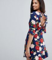 photo Floral Frill Tea Dress by New Look, color Blue Pattern - Image 2