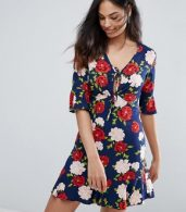 photo Floral Frill Tea Dress by New Look, color Blue Pattern - Image 1