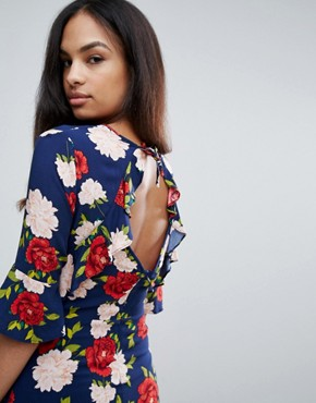 photo Floral Frill Tea Dress by New Look, color Blue Pattern - Image 3
