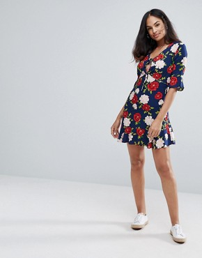 photo Floral Frill Tea Dress by New Look, color Blue Pattern - Image 4