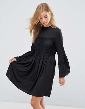photo Lace Detail Smock Dress by Vila, color Black - Image 1