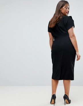 photo Split Cap Sleeve Midi Dress with Modern Ring Belt by ASOS CURVE, color Black - Image 2