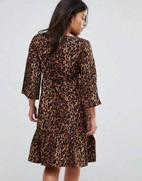 photo Leopard Print Woven Skater Dress by Mamalicious, color Multi - Image 2