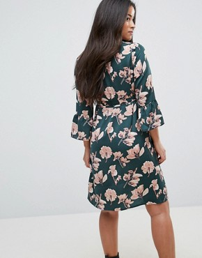 photo Bloom Printed Woven Dress with Fluted Sleeve by Mamalicious, color Multi - Image 2