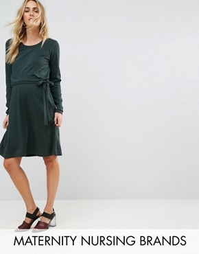 photo Double Layer Jersey Dress by Mamalicious Nursing, color Green - Image 1