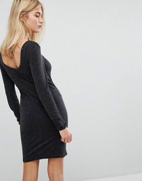 photo Long Sleeve Glitter Mini Dress by Noisy May, color Black - Image 2