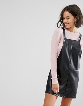 photo Faux Leather Dungaree Dress by Pull&Bear, color Black - Image 1