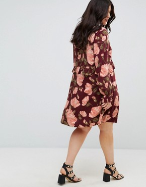 photo Floral Print Smock Dress with Frill and Tie Detail by Junarose, color Multi - Image 2