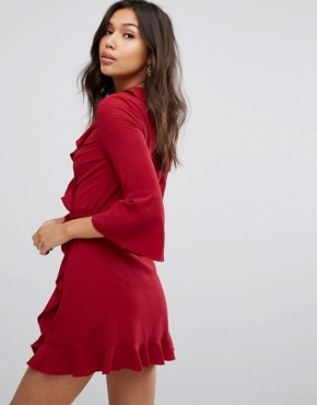 photo Ruffle Wrap Dress with Fluted Sleeve by Outrageous Fortune, color Berry - Image 2