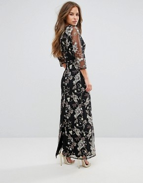 photo All Over Floral Embroidered Maxi Dress by Little Mistress Petite, color Multi - Image 2