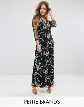photo All Over Floral Embroidered Maxi Dress by Little Mistress Petite, color Multi - Image 1