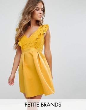 photo Frill Lace Top Mini Prom Dress by Little Mistress Petite, color Ochre - Image 1
