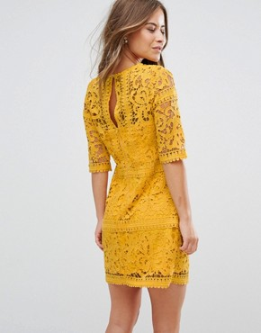 photo All Over Cutwork Lace Mini Aline Dress by Little Mistress Petite, color Ochre - Image 2