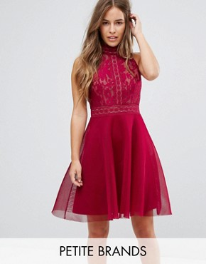 photo High Neck Mesh Prom Skater Dress by Little Mistress Petite, color Berry - Image 1