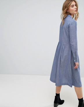 photo Embroidered Midi Dress in Chambray by Leon and Harper, color Blue - Image 2
