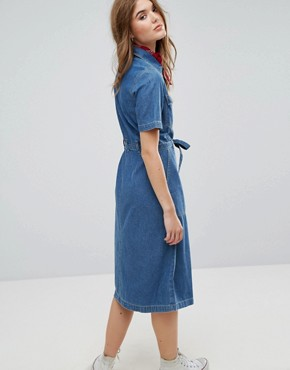photo Midi Shirt Dress in Denim by Leon and Harper, color Blue - Image 2