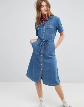 photo Midi Shirt Dress in Denim by Leon and Harper, color Blue - Image 1